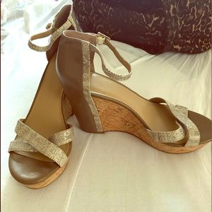 Ann Taylor Taupe and Snake Skin Wedge Heel